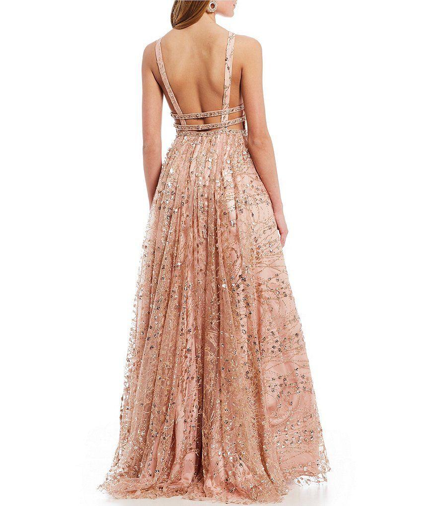 1396f63125 Advertisement  Coya Collection Beaded Triple Waist Glitter Mesh Ballgown