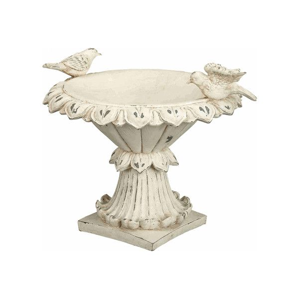 Shabby Off White Bird Feeder On Pedestal For Table Top ($125) ❤ liked on Polyvore featuring home, outdoors, outdoor decor, decor, shabby chic, filler, ivory bowl, alabaster statue, ivory statues and pedestal statue