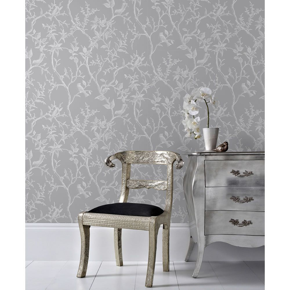 Superfresco Easy Wallpaper Laos Trail Grey and Sil ver