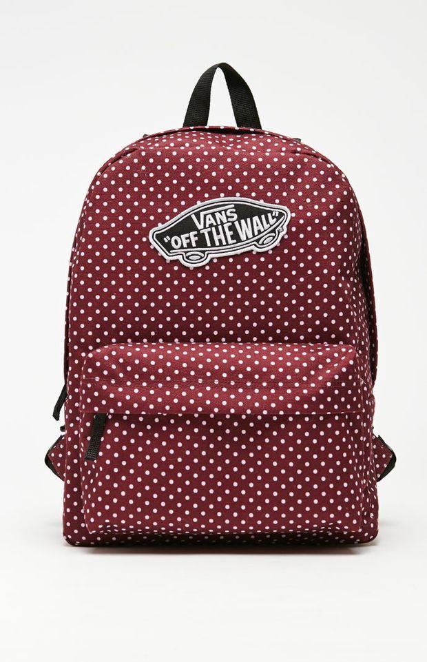 Vans Realm Burg Dots School Backpack - Womens Backpack - Red - NOSZ ...