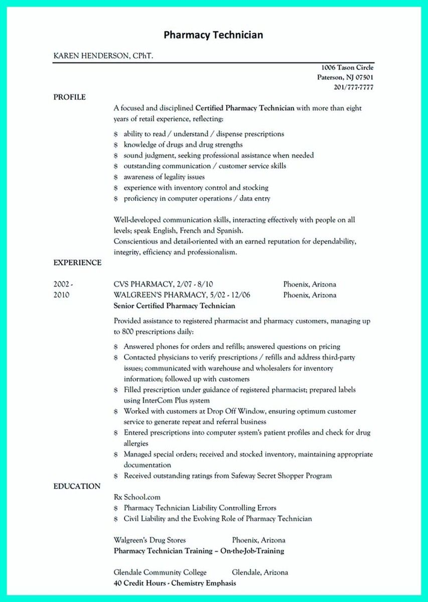 Awesome What Objectives To Mention In Certified Pharmacy Technician Resume Check More At