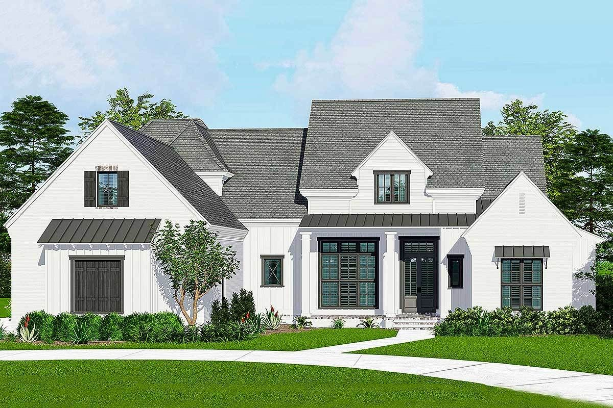 Plan 510042wdy French Country Farmhouse Plan With Media Room And 3 Car Garage French Country Decorating French Country House Country Style Homes
