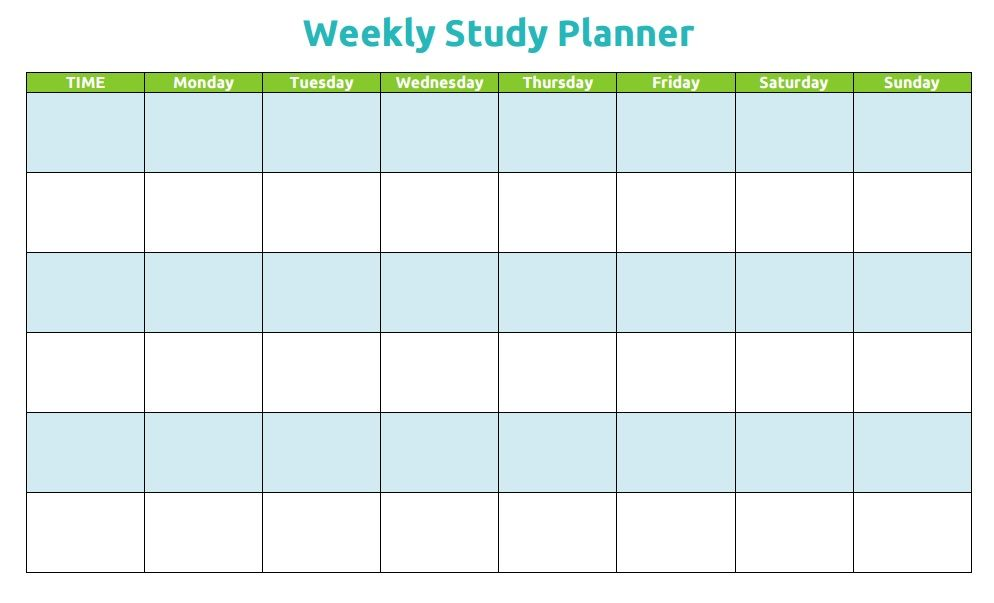 weekly study planner template