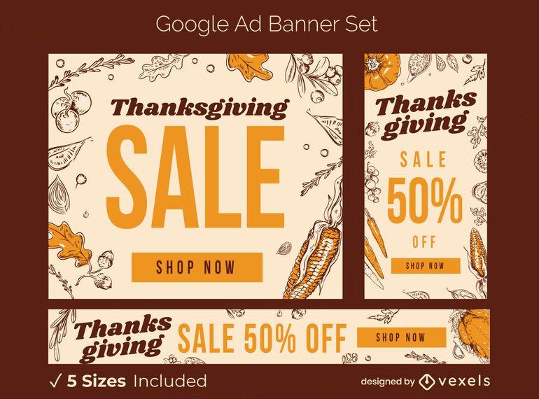 Thanksgiving Sale Ad Banner Set Ad Sale Thanksgiving Banner Set Ad In 2020 Thanksgiving Sale Ads Banner Ads Thanksgiving Sale