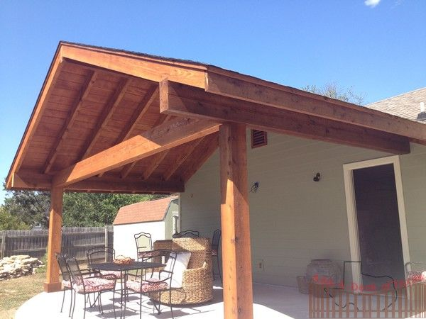 Roof Beams For Deck | Cedar Gable Exposed Beam Roof   Concrete Patio   Add