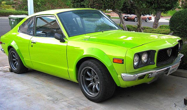 fluorescent Mazda rx3 on Watanabe wheels by verner_oscar™, via Flickr