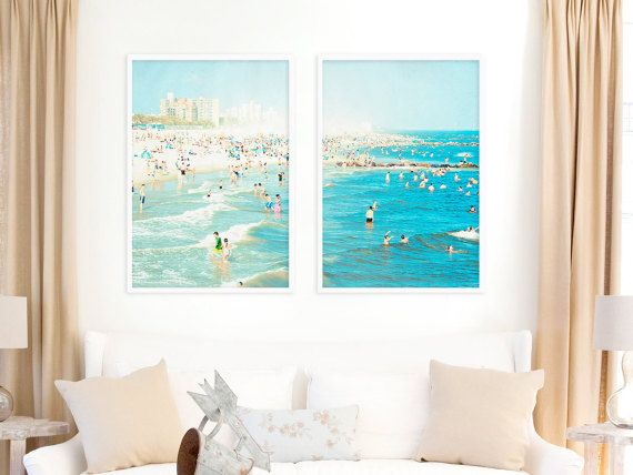SET OF TWO Large Wall Art Beach Photography Living Room Decor Ideas By