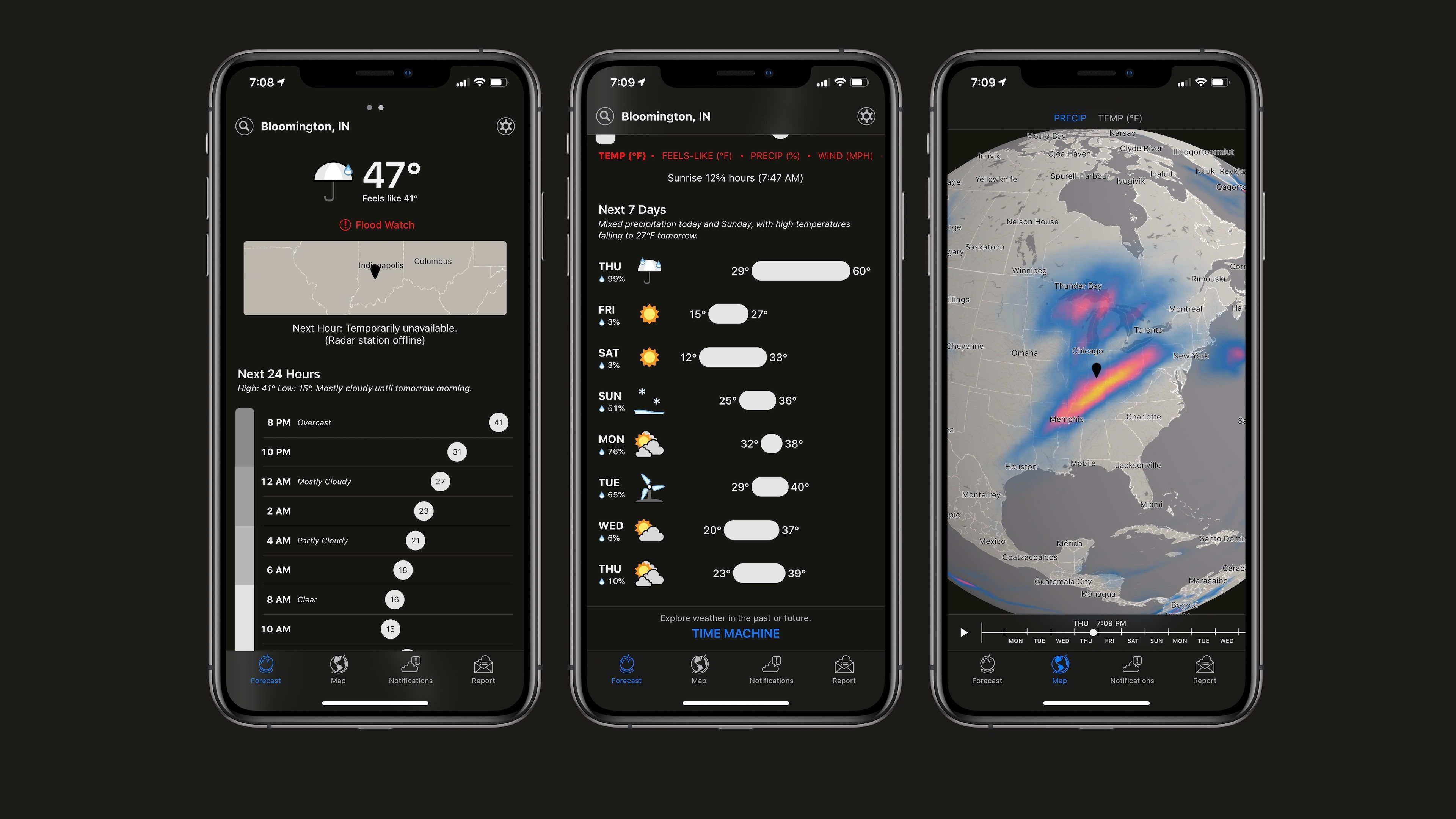 Dark Sky weather app on iOS adds slick new dark mode in