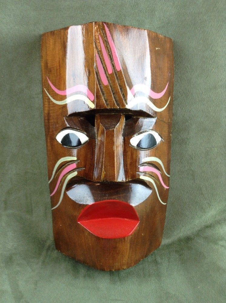 African Australia Aboriginal Vintage Carved Wooden Mask Wall Hanging