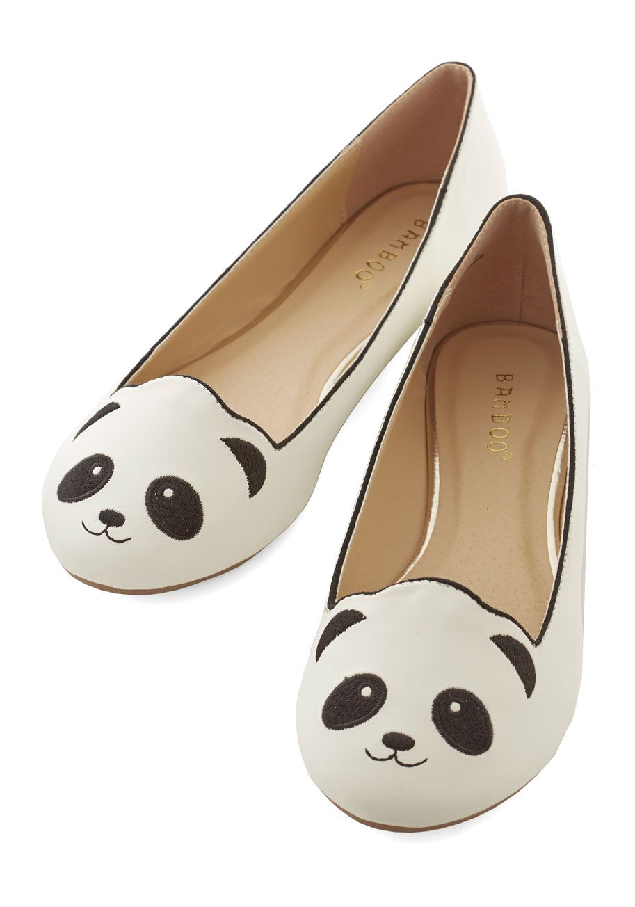 Cute white panda flat shoes!  d52f2ef83b