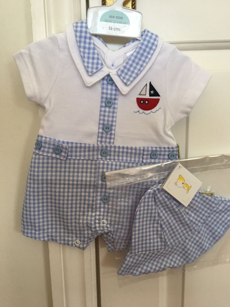 16c8b7c9eb5 New Born Baby Boy Gingham Blue Nautical Romper Outfit With Hat ...