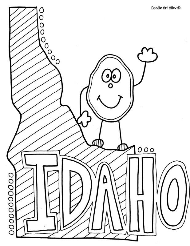 Idaho Coloring Page By Doodle Art Alley