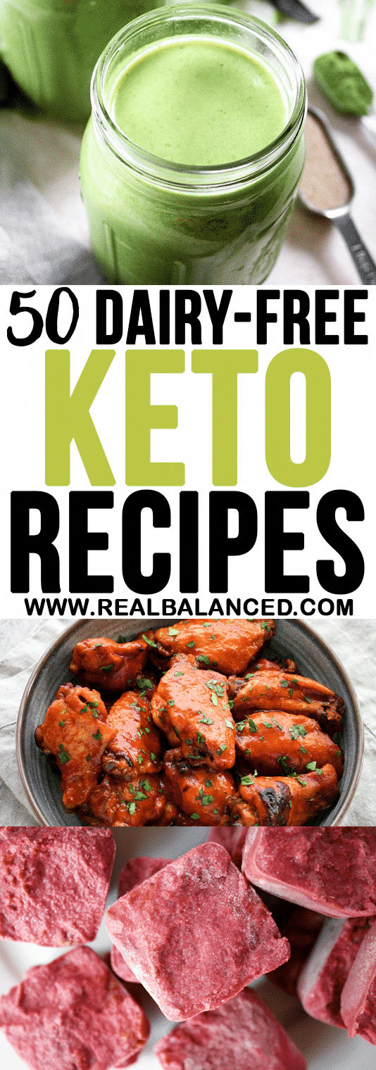 This list of 50 Dairy-Free Keto Recipes is a great resource for anyone with a dairy allergy or lactose intolerance that follows a low-carb diet!