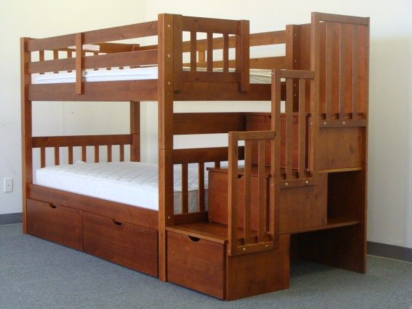 Bunk Beds Twin Over Twin Stairway Expresso 2 Extra Drawers Extra Storage And Railings