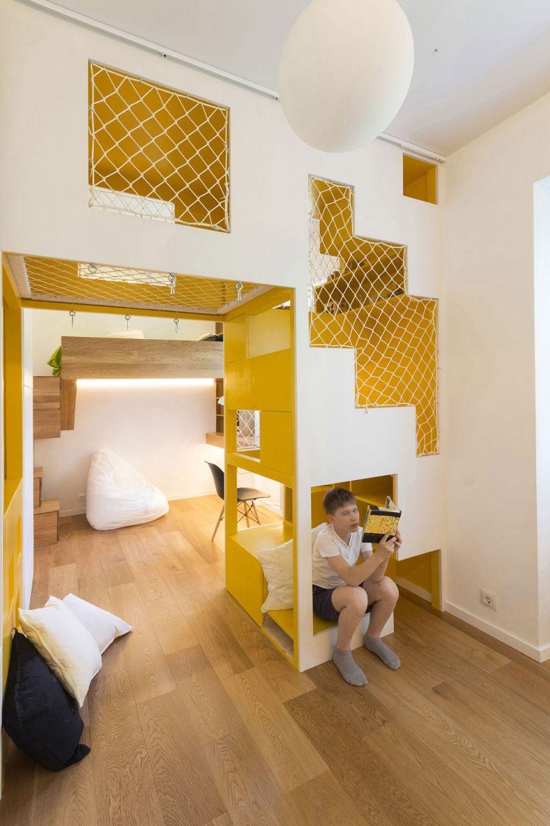 Netz Kinderzimmer stufen und netze zum klettern bieten spielmöglichkeiten an
