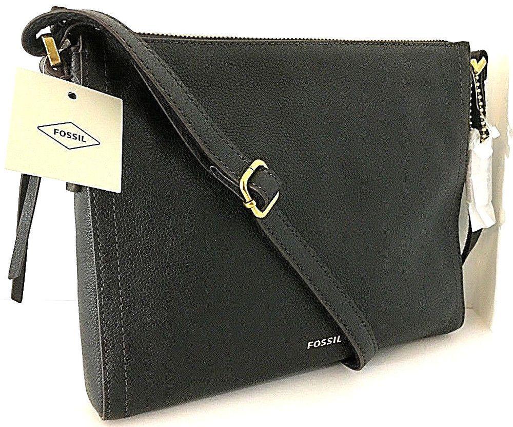 196cefbbf6ab FOSSIL EMMA Crossbody Shoulder Bag Black Leather SHB1941001 E W 9.5