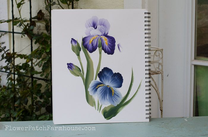 How To Paint An Iris In Acrylics Iris Painting Flower Painting Painting Tutorial