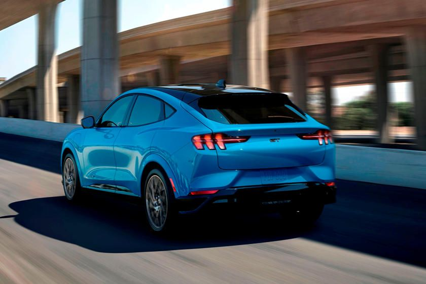 2021 Ford Mustang Mach E Rear View Driving Photo In 2020 Ford Mustang Mustang New Ford Mustang