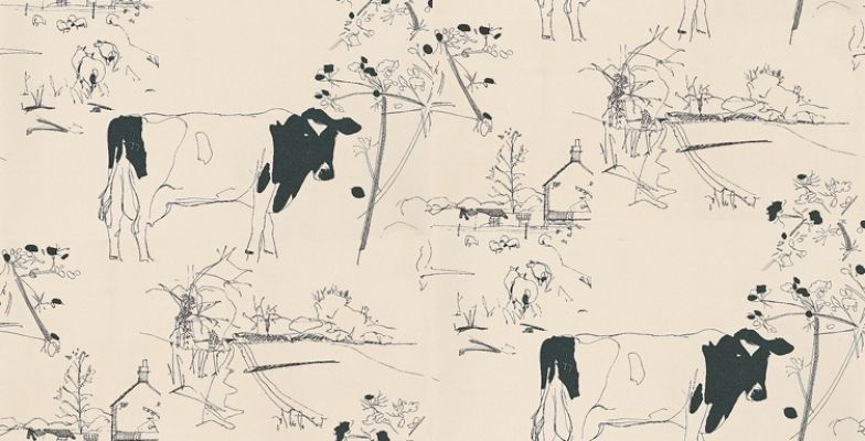 Countryside Toile   The Art Of Wallpaper Wallpapers   A Quirky Countryside  Toile Including A Farm House With Cows And Sheep. Showing In Black On An  Off ...