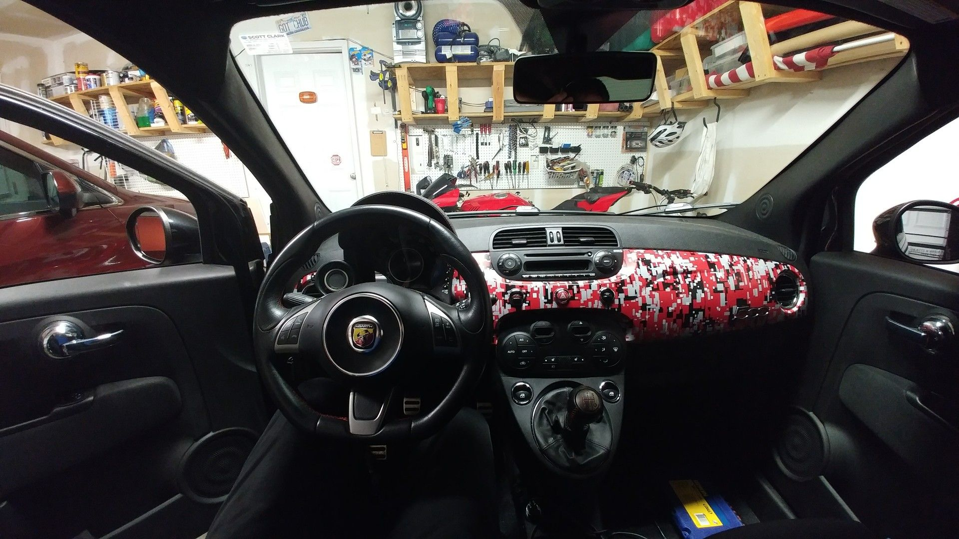 Fiat 500 abarth dash panel wrapped in 3m red tiger digital camo