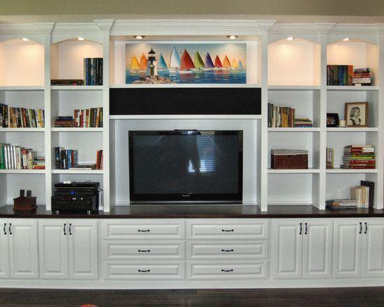Modern home theater cabinets custom.