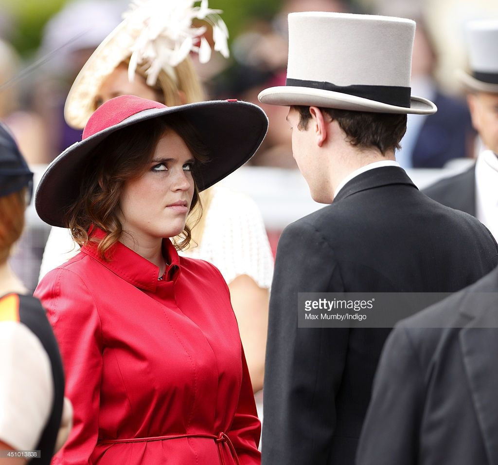 <a gi-track='captionPersonalityLinkClicked' href=/galleries/search?phrase=Princess+Eugenie&family=editorial&specificpeople=160237 ng-click='$event.stopPropagation()'>Princess Eugenie</a> of York rolls her eyes as she talks with <a gi-track='captionPersonalityLinkClicked' href=/galleries/search?phrase=Jack+Brooksbank&family=editorial&specificpeople=7075188 ng-click='$event.stopPropagation()'>Jack Brooksbank</a> on Day 5 of Royal Ascot at Ascot Racecourse on June 21, 2014 in Ascot, England.