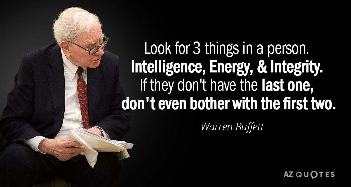 Image result for buffett on integrity