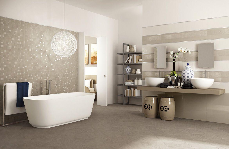 Bathroom Luxury Wide Grey Mosaic Tiling Design With