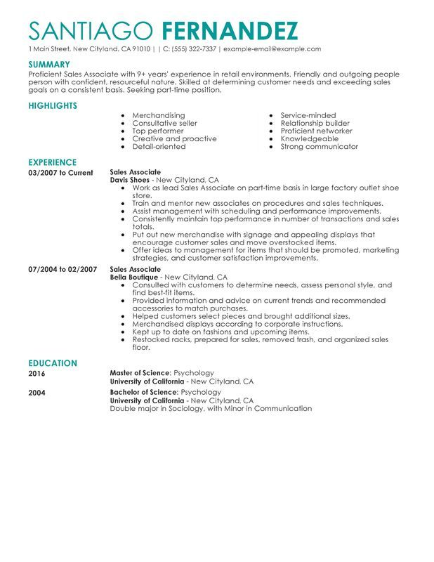 Part Time Sales Associates Resume Sample Job Hunting Pinterest - resume goals