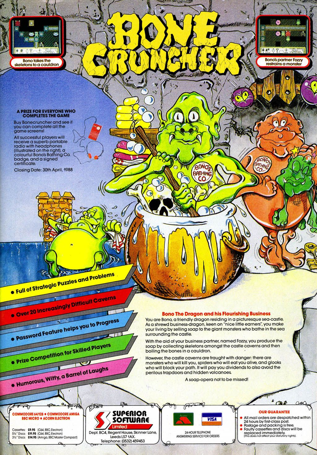 Bone Cruncher (1987) (With images) Retro games poster