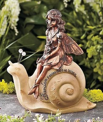 Bronze Like Finish Fairy Snail Garden Statue With Inscribed Message New |  EBay