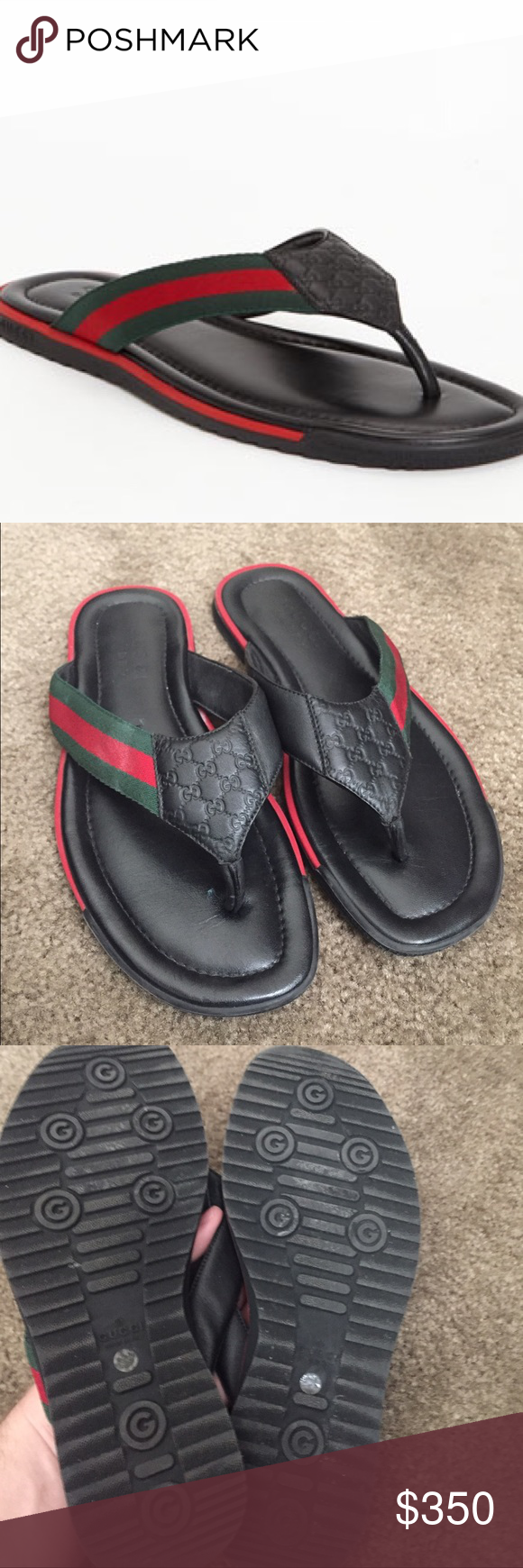 6a7f0f5882e Gucci Men s SL 73 leather sandals 7.5 8.5 Men s Gucci sandals feature  embossed micro guccisima printed leather with signature red and green  webbing. Size ...