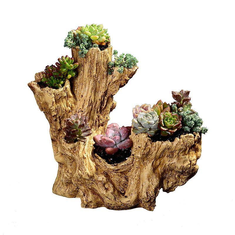 Artificial Driftwood Rabbit Bunny Planter Resin Flower Pot