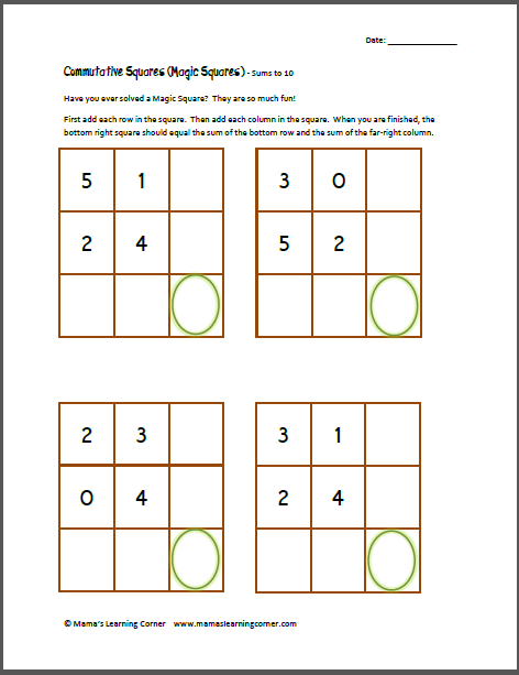 Commutative Squares (Magic Squares) - Sums to 10 | 10., Squares ...