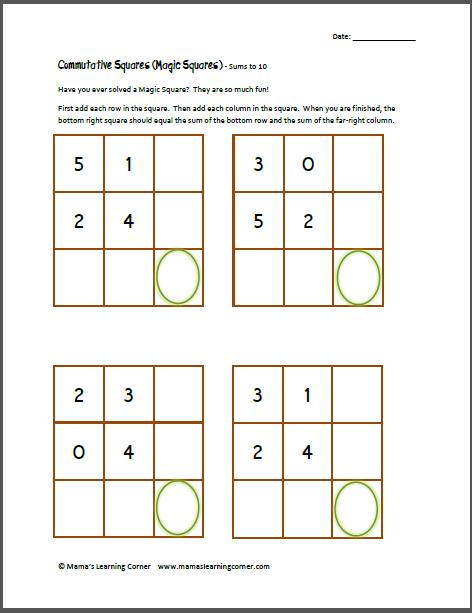 Commutative Squares Magic Squares Sums To 10 Kindergarten