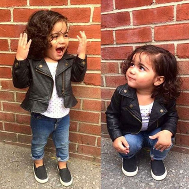 687f4692d5a4 Baby Girls Leather Jackets Short Coat