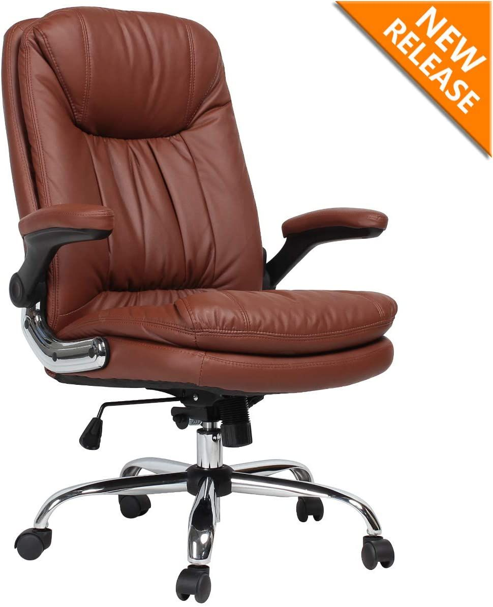 B2c2b Ergonomic Office Chair High Back Desk Chair With Flip Up Arms And Comfy Thick Cushion Leathe Office Chair Ergonomic Office Chair Black Office Chair Leather high back office chair