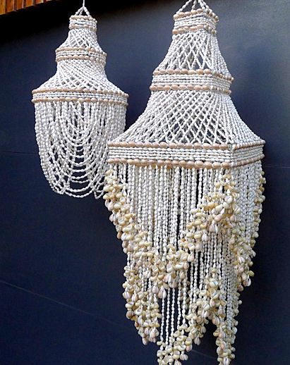 Shell Chandeliers (I'd try to make this with crystals and beads instead)