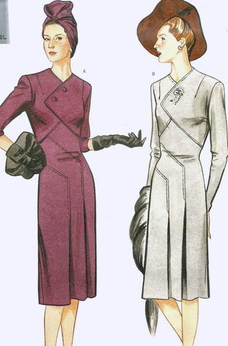 Cute variation on the standard dress shape. Vogue Vintage 1943 Retro ...