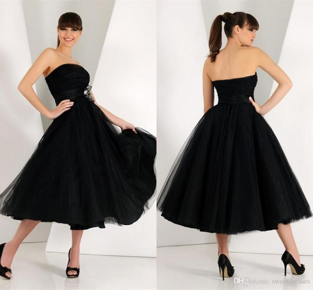 Us style classic black prom dresses strapless tea length puffy