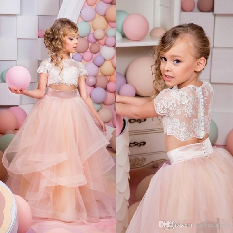 Off Shoulder 2016 Mermaid Flower Girls Dresses For Weddings Short Sleeve Lace Formal Wear Long Champagne Trumpet Communion Gowns