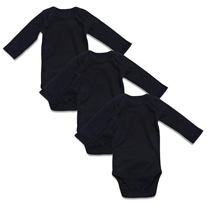 ROMPERINBOX Solid Black Long Sleeve Baby Bodysuits 3 Pack ...