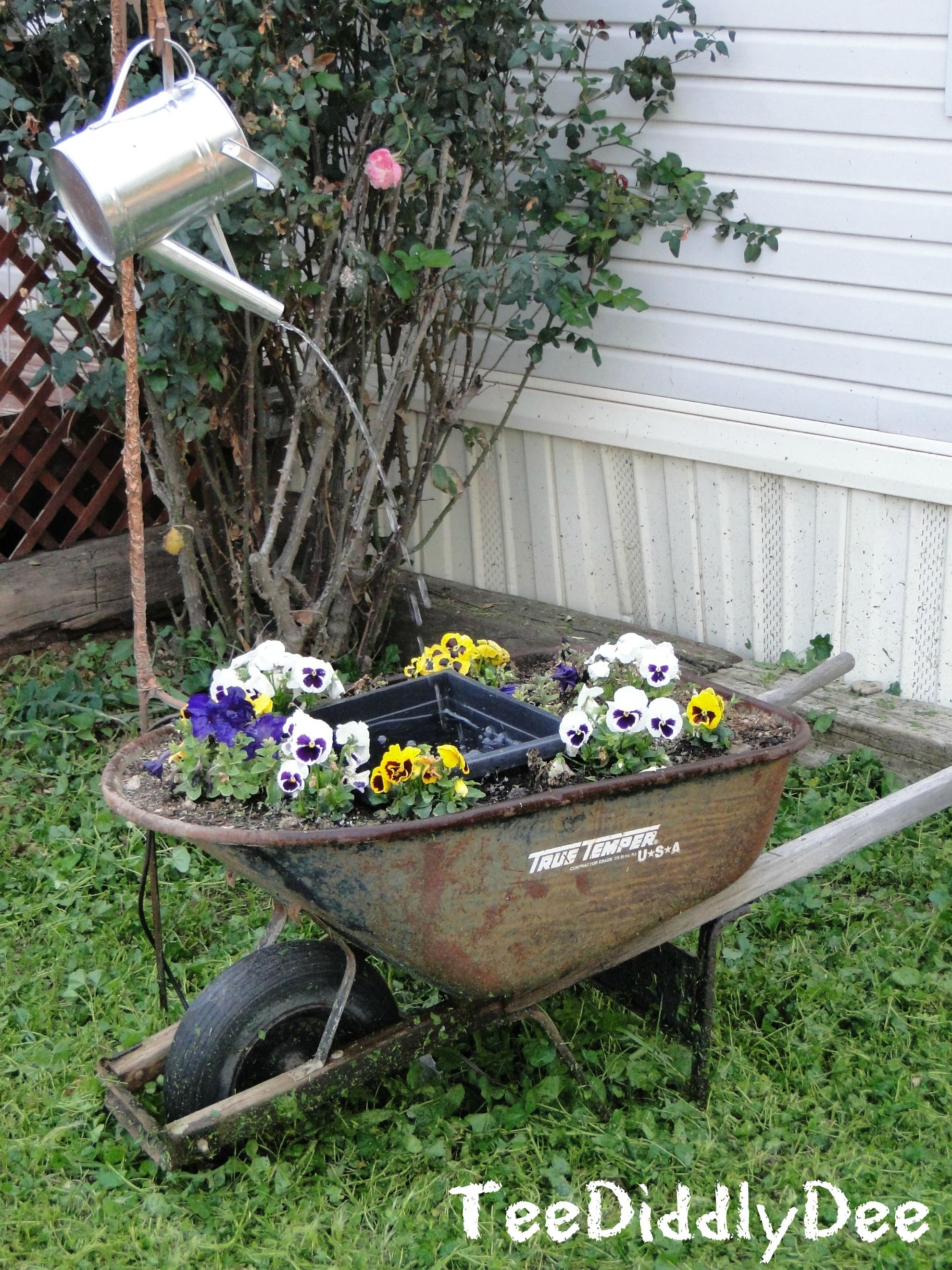 Make a Cute Garden Water FountainPond Out Of a Wheelbarrow