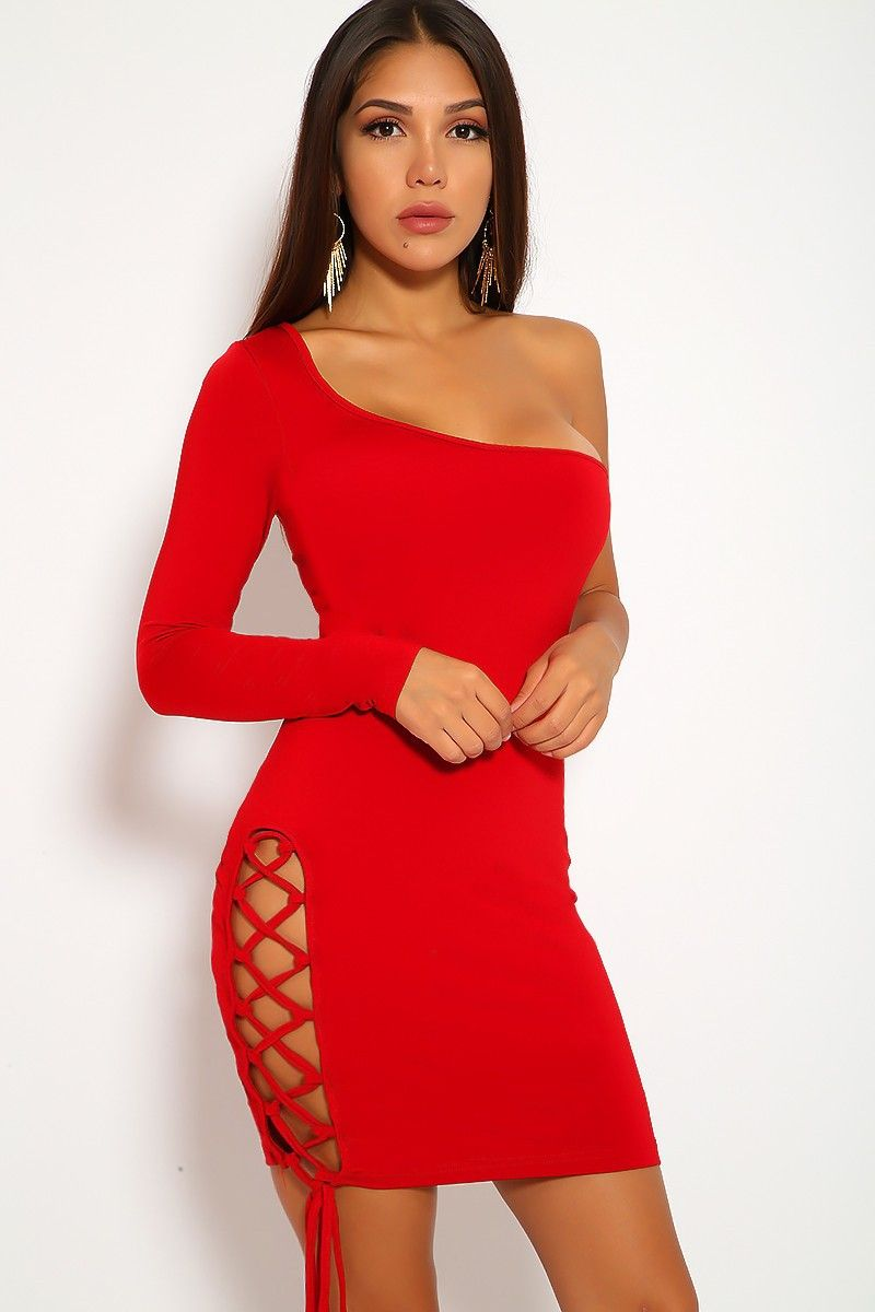 4043d65b64 Sexy Wine Lace Up One Shoulder Long Sleeve Bodycon Party Dress in ...