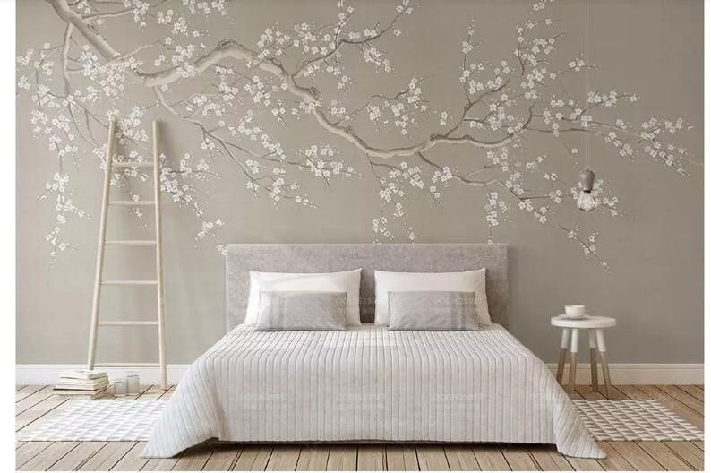 One Large Crooked Cherry Branch Wallpaper Wall Mural Abstract Etsy In 2020 Wall Wallpaper Wall Murals Decor