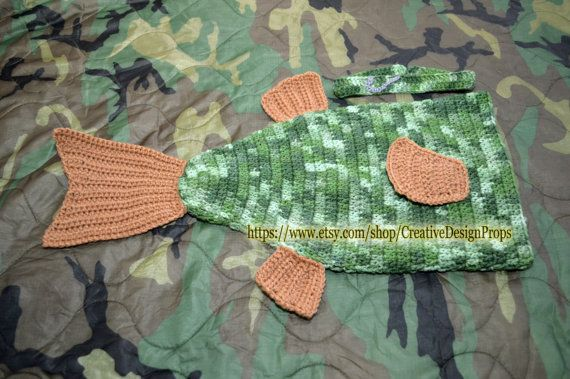Crochet Trout Bass Fish Costume For Baby Cocoon And Headband With Fishing Hook Newborn Outfit Halloween Photo Prop Fisherman Baby Shower Fish Costume Crochet Baby Cocoon Baby Costumes
