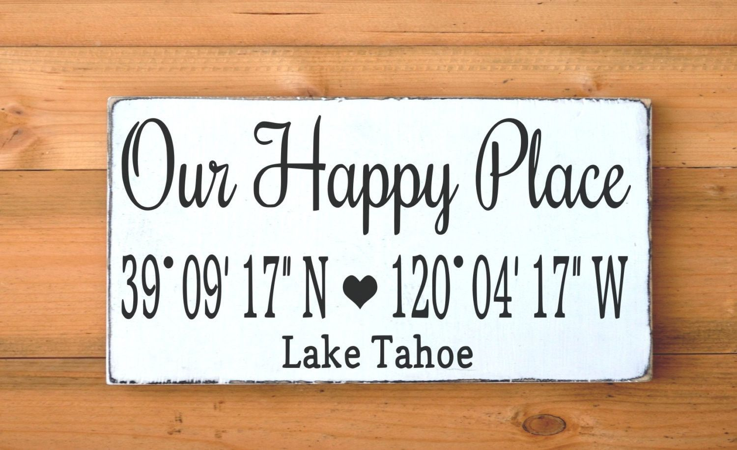 Lake House Decor Personalized GPS Our Happy Place Wooden Sign Lake ...