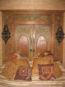 Old Mexican doors for headboard.
