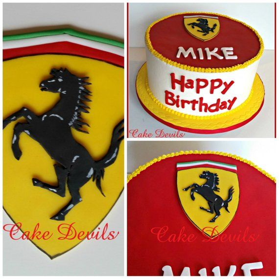 Auto Car Hood Emblem Fondant Cake Topper Handmade Edible Ferrari