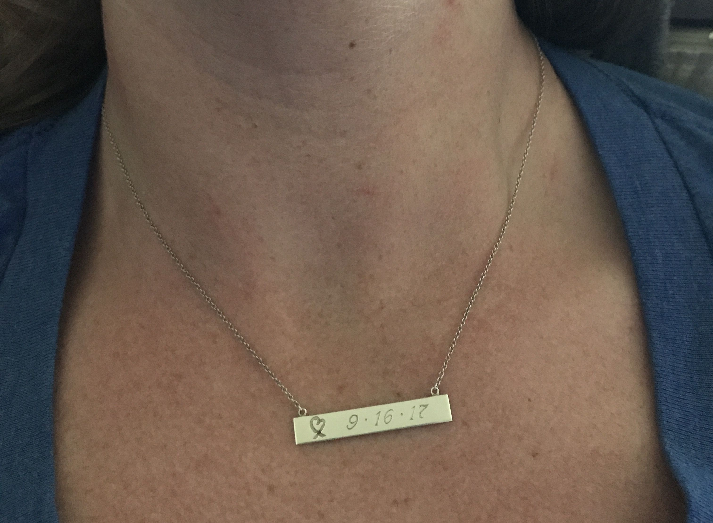 8d257bbc6926c Tiffany & Co Bar necklace engraved with my wedding date ...